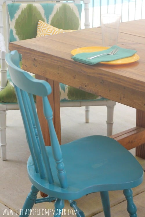 turquoise chair closeup