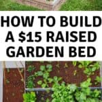 collage of raised garden beds with text reading how to build a raised garden bed