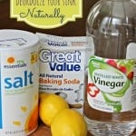 The ingredients of how to clean a stainless steel sink including baking soda, salt, lemons, and vinegar