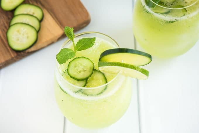 cucumber agua fresca in glass