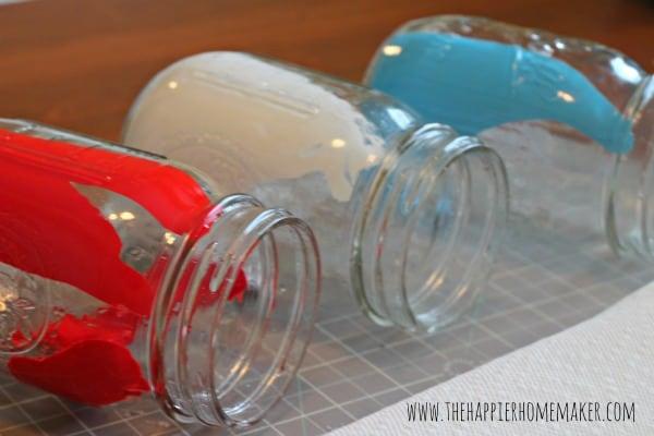 painting mason jars