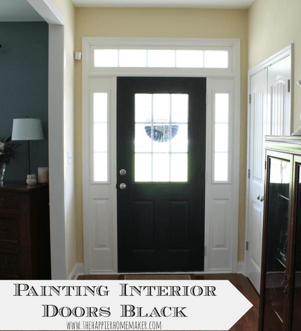 An interior door painted black