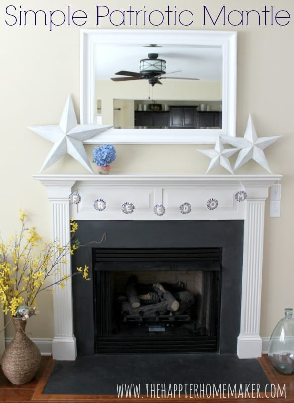 A fireplace mantel with white stars