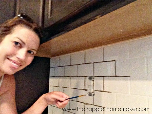 Changing Grout Color A Subway Tile Update The Happier