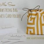 No sew drawstring bag for business cards