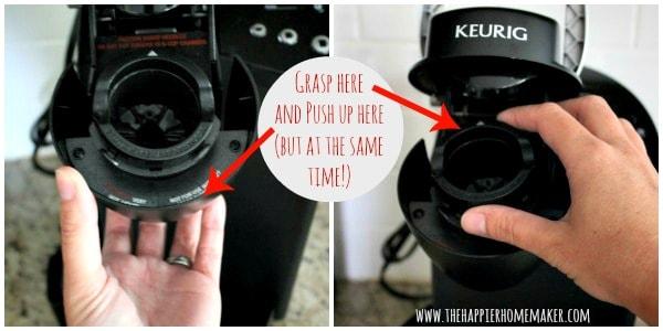 removing keurig k-cup holder