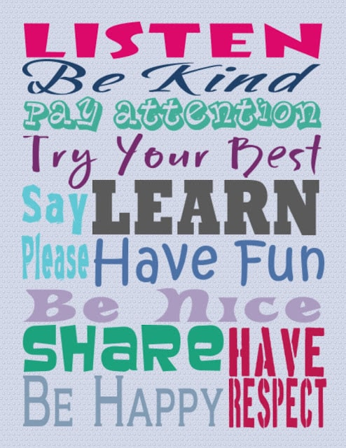 classroom rules printable