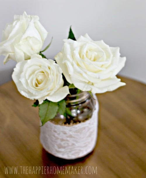 roses in a mason jar