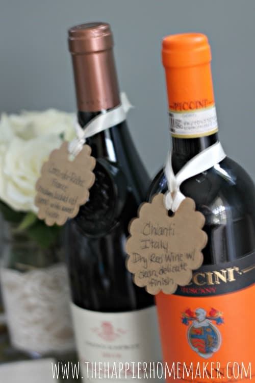 wine tasting party wine bottle tags