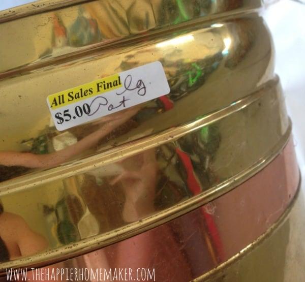 brass planter thrifted