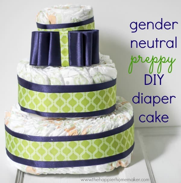 diaper cake with blue and green ribbons and accents
