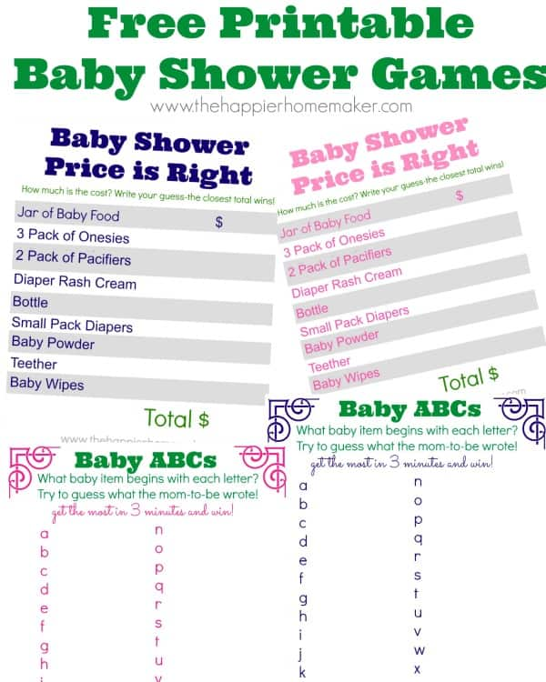 Baby Shower Game Printables and a Virtual Baby Shower! | The