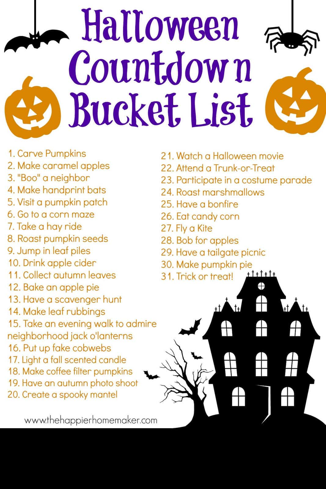 Halloween Countdown Bucket List
