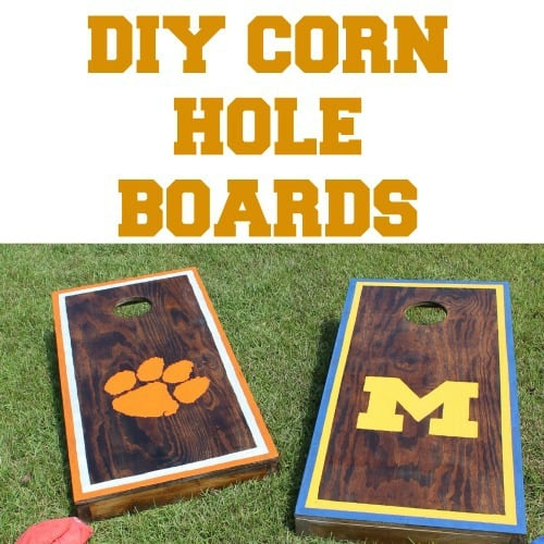 Two DIY corn hold boards one with Clemson University and one with the University of Michigan