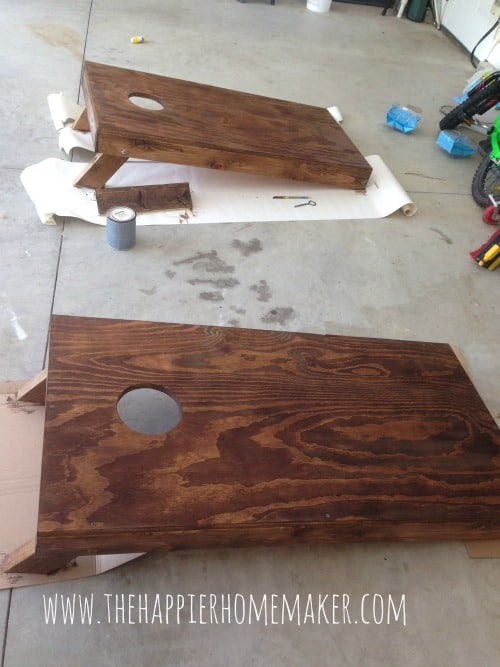 staining corn hole boards