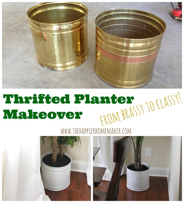 Two thrift planter makeovers painted white and potted with plants