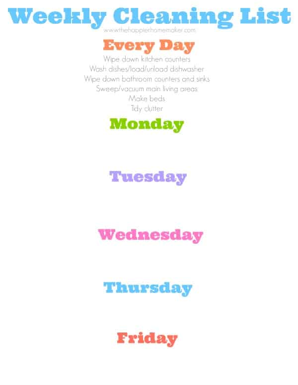 Blank Weekly Cleaning List picture