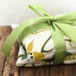 DIY lavender sachet gifts tied with a green ribbon