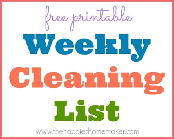 free printable cleaning list