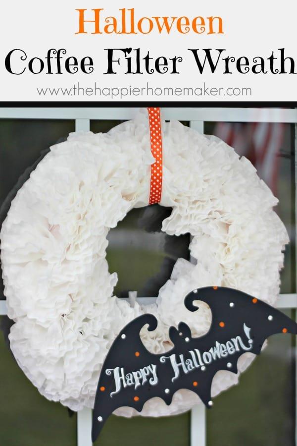 Easy DIY Halloween Coffee Filter Wreath tutorial.