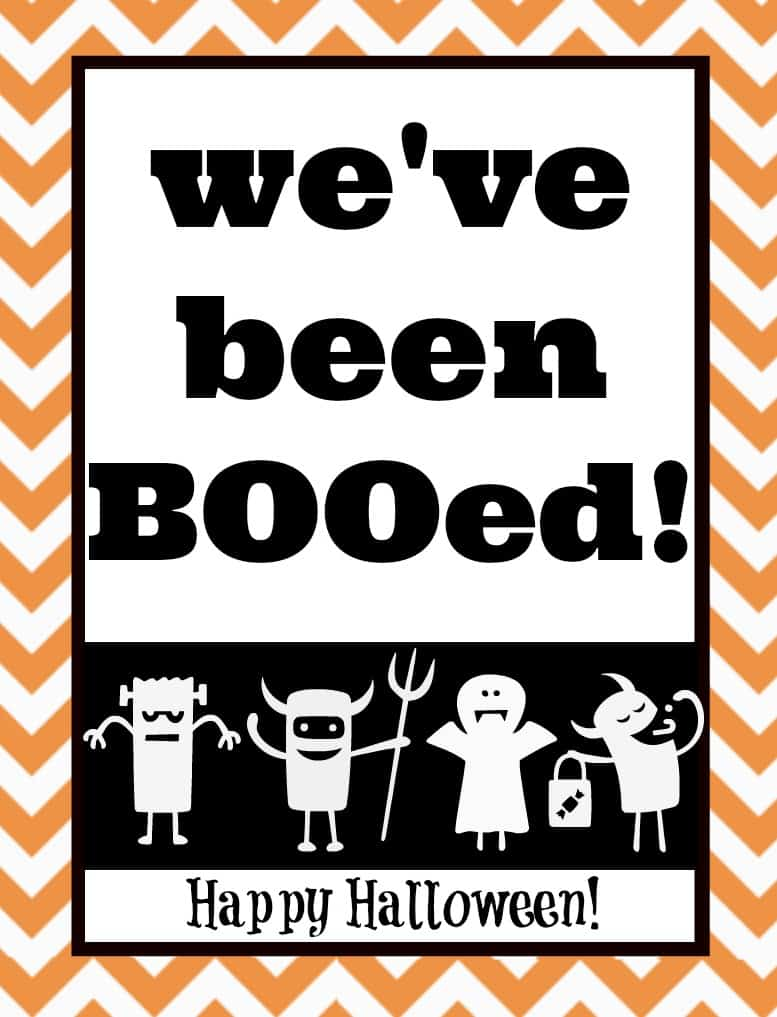 photograph regarding You've Been Booed Free Printable named Totally free Youve Been BOOed Absolutely free Printables for Halloween Boo Luggage