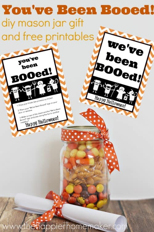 you've been booed printables and candy in mason jar