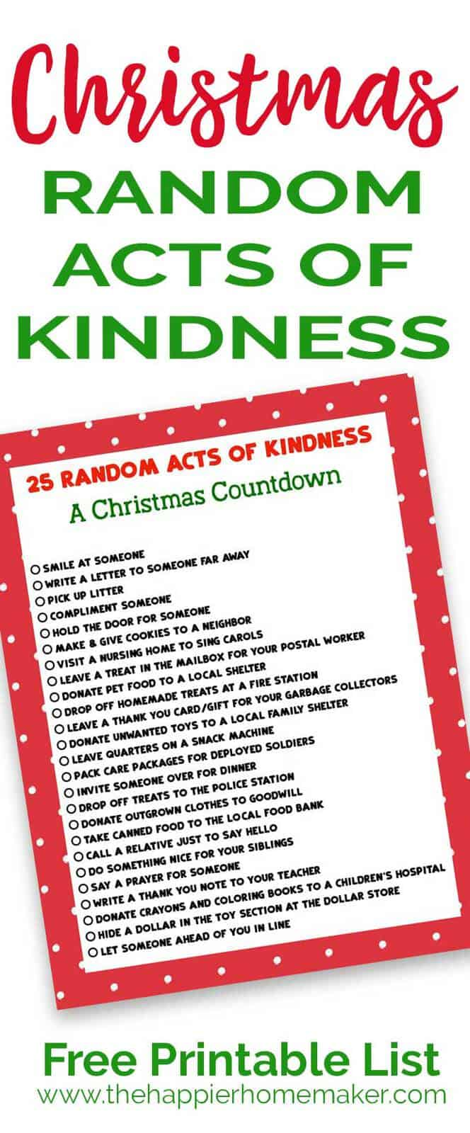 Keep the true meaning of Christmas with this printable list of 25 Random Acts of Kindness Christmas Countdown.
