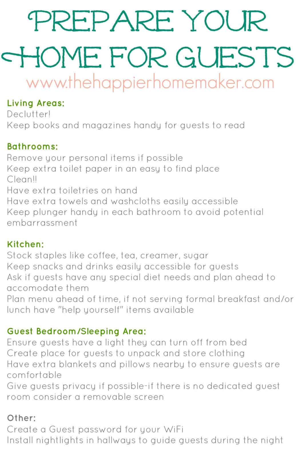 A holiday guest visit checklist for different rooms in your home