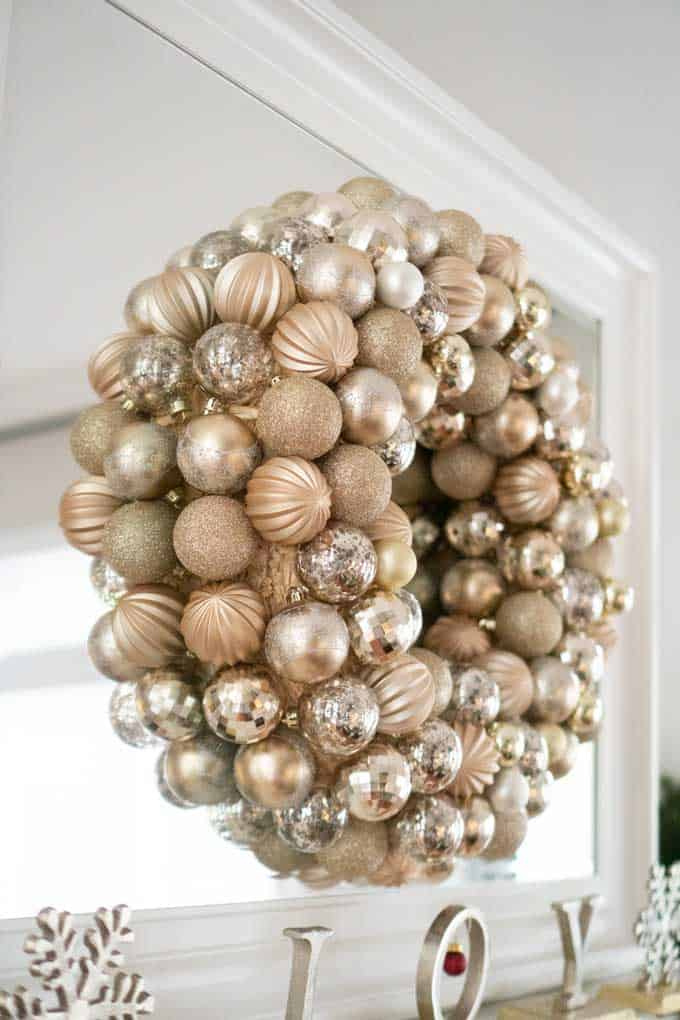 An ornament wreath on a mirror
