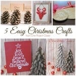 A collage of 5 easy Christmas crafts including ornaments, decor and cards