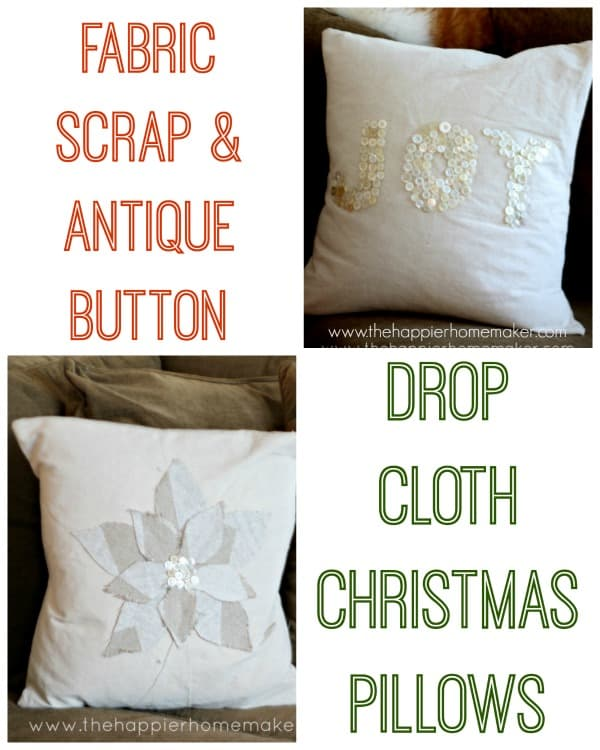 fabric scrap button pillows