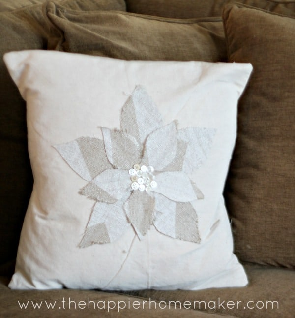 flower fabric scrap pillow