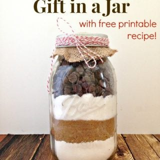 Easy chocolate chip cookie mix in a jar as a git
