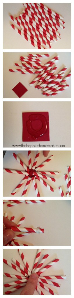 Two pictures of DIY paper straw ornaments