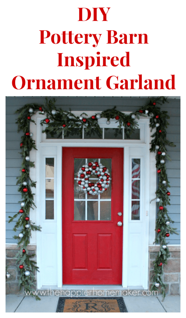 DIY ornament garland around a red door with white trim