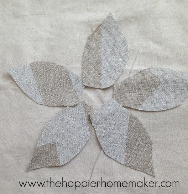 making fabric scrap flower pillow