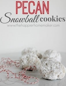pecan snowball cookies covered in powdered sugar