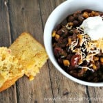 homemade chili and cornbread