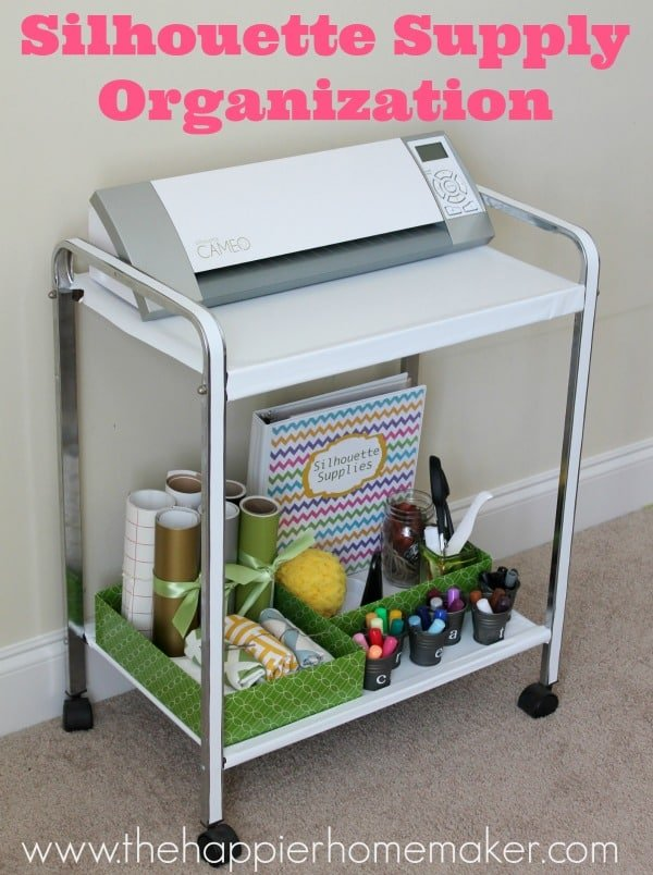 An organizing cart for silhouette and craft supplies