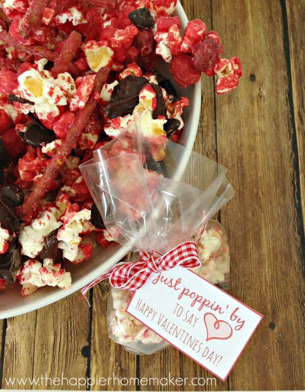 Candied Popcorn Snack Mix and Free Valentine's Printable