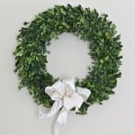 A close up of a boxwood wreath and a white ribbon tied into a bow on it