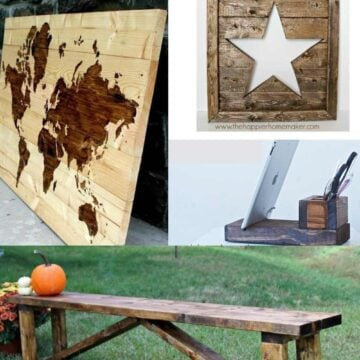 collage of scrap wood projects