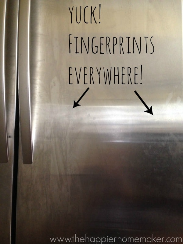 fingerprints on stainless steel refrigerator