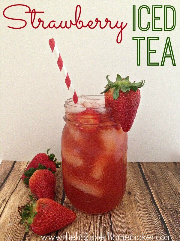 Strawberry iced tea in a mason jar