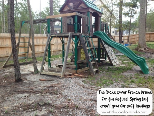 rocks under playset french drains
