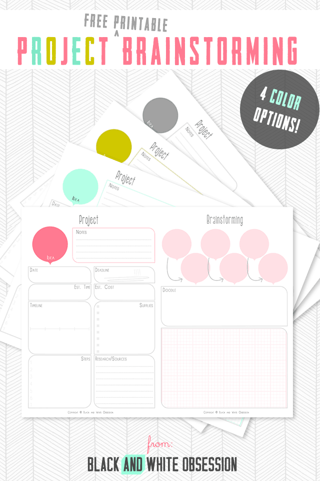 Brainstorming project printable charts
