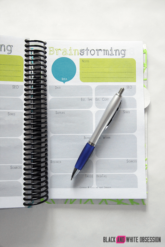 Brainstorming project printable charts with a pen on top