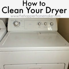A white, front load dryer used as an example of how to clean a dryer