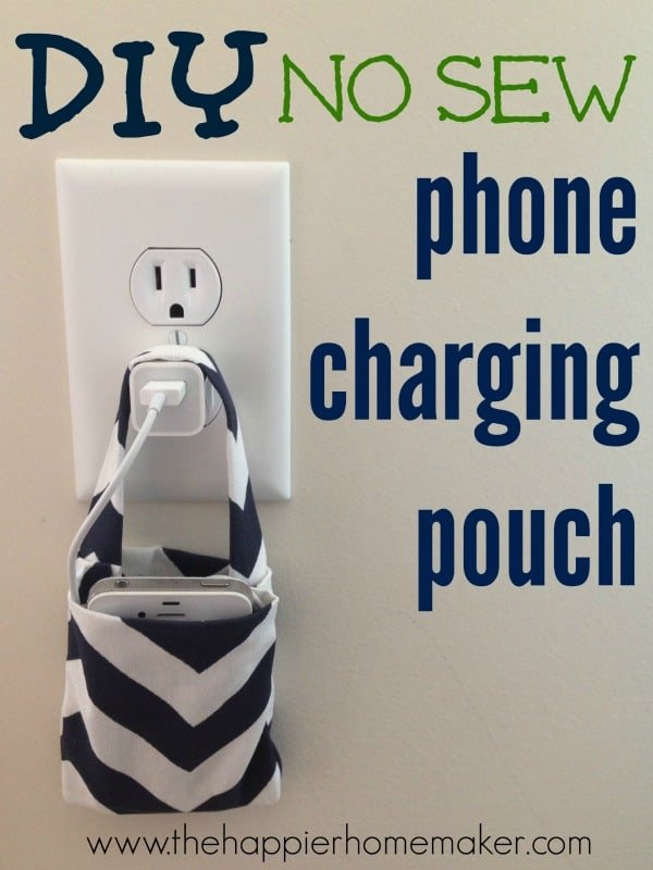 DIY no sew phone charging pouch handing on an iPhone charger