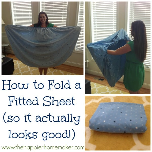 How to Fold a Fitted Sheet so it actually looks good-complete with step by step photo and video tutorial!